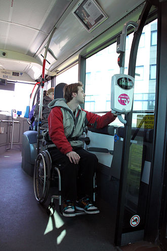 Low-floor bus - A low-floor bus provides accessibility for wheelchair users.