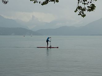 Standup paddleboarding - Standup paddle boarding in Lake Annecy