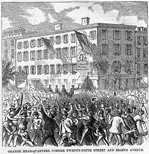 Orange Riots - Lamartine Hall, at the corner of Eighth Avenue and 29th Street, on the day of the riot.