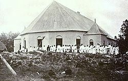Stone Methodist church, Satupa'itea circa 1908