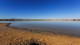 Larnaca Salt Lake - in winter with part of Larnaca city in the background.