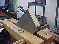 Wooden laying press holding a book being worked on. Layingpress1.jpg