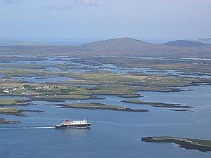 Uist - Caledonian MacBrayne ferry  MV ''Hebrides'' leaving Lochmaddy, North Uist en route for Skye