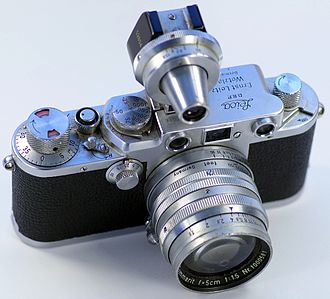 Leica III - Leica IIIf fitted with a Summarit 50mm f/1.5 and a viewfinder. This particular model does not feature a self-timer.