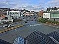 Leirvik, Stord, Norway, seen from Grand Hotell. Heimebaserte tenester, Esso petrol station, Vikabrekko (fylkesveg 544), Stord town hall, bus station, etc. 2018-03-09 b.jpg