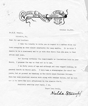 Hulda Stumpf - Stumpf's letter of 24 October 1906 to the Africa Inland Mission