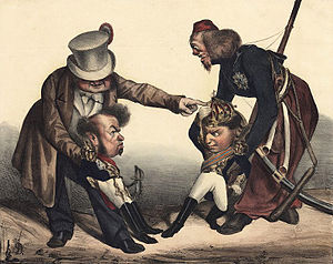 Liberal Wars - Great Britain, personified by John Bull, supports an upset Pedro, who crosses his arms, while his brother Miguel, supported by Austria, tries to hold his crown