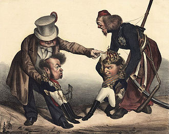 Liberal Wars - Caricature by Honoré Daumier, depicting European powers, inciting Pedro and Miguel to war.