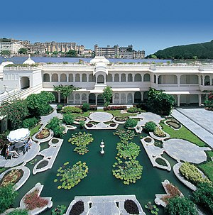 Pond - A small artificial garden pond at the Taj Lake Palace in Udaipur, India