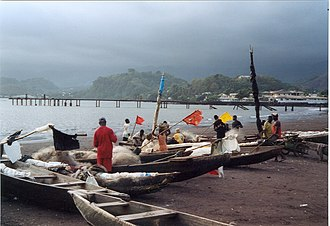 Limbe, Cameroon - Traditional fishing boats on the beach.