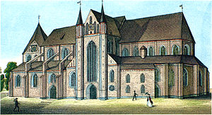 Diocese and Prince-bishopric of Schwerin - Cathedral of Ss. Mary and John the Baptist, church of the bishops in Schwerin, view before 1845.