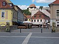 Listed houses and Dobó Square Bridge in Eger, 2016 Hungary.jpg