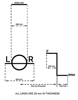 "Waterline - Lloyd's Register (""LR"") Load line mark and lines for commercial sailing vessels"