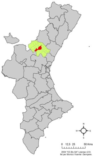 Jérica - Image: Localització de Xèrica respecte del País Valencià