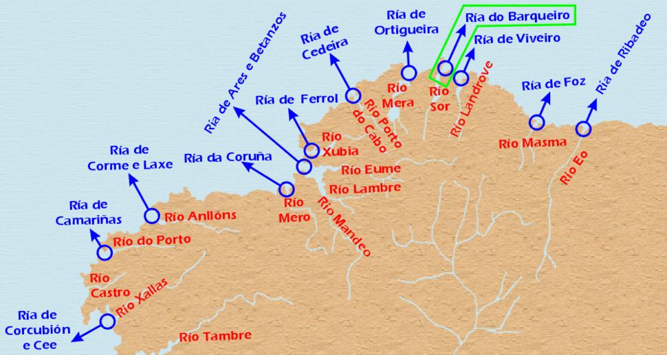 Localizacion Ria do Barqueiro.Galicia
