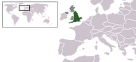 A map showing the location of England