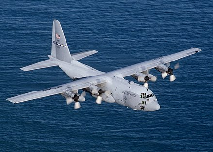 A military transport aircraft, over 2,500 Lockheed C-130 Hercules have been built Lockheed C-130 Hercules.jpg
