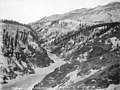 Looking south at river through canyon, near Alaska Railroad grade, probably near Fairbanks, Alaska, December 9, 1919 (AL+CA 5731).jpg