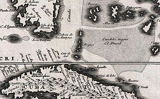 Cay Sal Bank - Los Roques with the Placer in a 1696 Danckerts map.