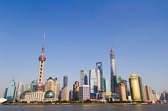 Shanghai Skyline And Lujiazui At Duskshanghaichina Stock Photo ...