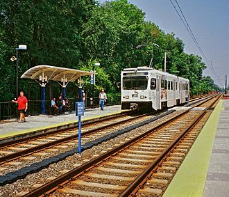 Towson, Maryland - The Baltimore Light Rail provides service at the Lutherville Station.