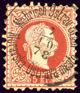Postmark - Example of postmark with historical significance: bilingual in the Austrian monarchy Moravia province, 1878.