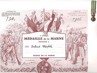 Théophile Marie Brébant - Image: Médaille de la Marne