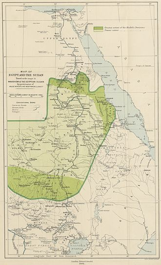 Anglo-Egyptian invasion of Sudan - 1894 map showing the extent of the Mahdist state in Sudan