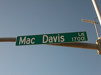 Mac Davis - Mac Davis Lane intersects Avenue Q (U.S. Highway 84) in Davis's hometown of Lubbock.