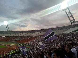 Újpest FC - Újpest supporters in the Ferenc Puskás Stadium on 25 May 2014