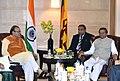 Maithripala Sirisena meeting the Union Minister for Finance, Corporate Affairs and Information & Broadcasting, Shri Arun Jaitley, in New Delhi on February 16, 2015.jpg