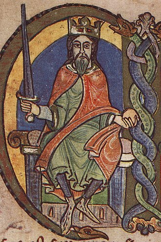 Walter fitz Alan - David I, King of Scotland as he is depicted in a mid twelfth-century royal charter.