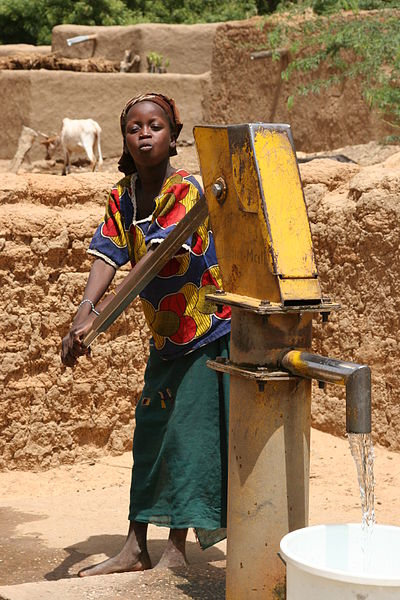 A water well in Mali operating with manual piston pump