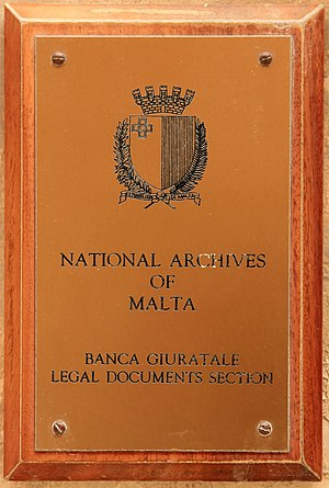 National Archives of Malta - Sign of the National Archives at the Banca Giuratale