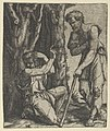 Man kneeling at the edge of a wood pointing with his right hand towards a shepherd standing in front of him leaning on a staff MET DP855129.jpg