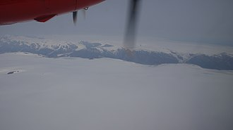 Maniitsoq Ice Cap - Aerial view of the ice cap in poor visibility.