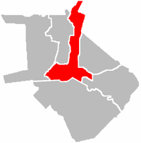 Map of Manila with the location of its 3rd district highlighted, of which Santa Cruz is a part.