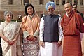Manmohan Singh and his wife Smt. Gursharan Kaur with the Prime Minister of Bhutan, Mr. Lyonchen Jigmi Y. Thinley and his wife Mrs. Aum Rinsy Dem Thinley at a ceremonial reception at Rashtrapati Bhavan, in New Delhi (1).jpg