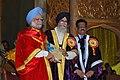 Manmohan Singh receiving the D.Litt. Award (Honoris Causa) from the Governor of Tamil Nadu & the Chancellor of the University of Madras, Shri. Surjit Singh Barnala.jpg