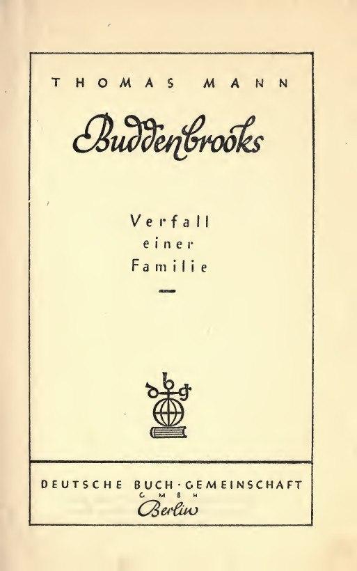 Mann, Thomas – Buddenbrooks, 1909 – BEIC 3277013
