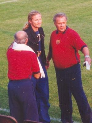 Marc Overmars - Emmanuel Petit joined Overmars at Barcelona in 2000.