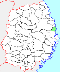 Location of Tarō in Iwate Prefecture