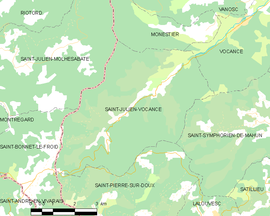 Mapa obce Saint-Julien-Vocance