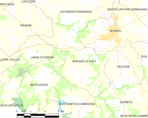 Arblade-le-Haut - Map of Arblade-le-Haut and its surrounding communes