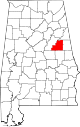 Map of Alabama highlighting Clay County.svg