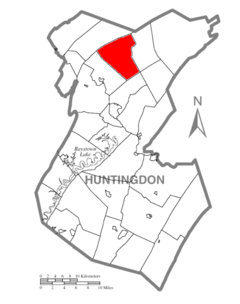 Map of Huntingdon County, Pennsylvania Highlighting West Township.PNG