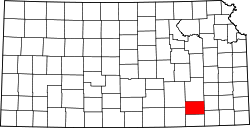 Map of Kansas highlighting Elk County.svg