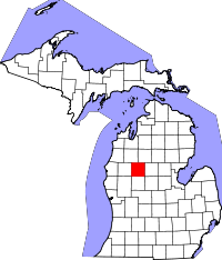 Kart over Michigan med Osceola County uthevet