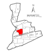 Map of Northumberland County, Pennsylvania highlighting Rockefeller Township