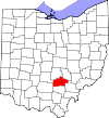 State map highlighting Hocking County